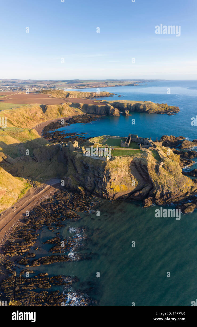 Dunnottar Castle a ruined medieval fortress located upon a rocky headland south of the town of Stonehaven, Aberdeenshire,  Scotland. - Stock Image