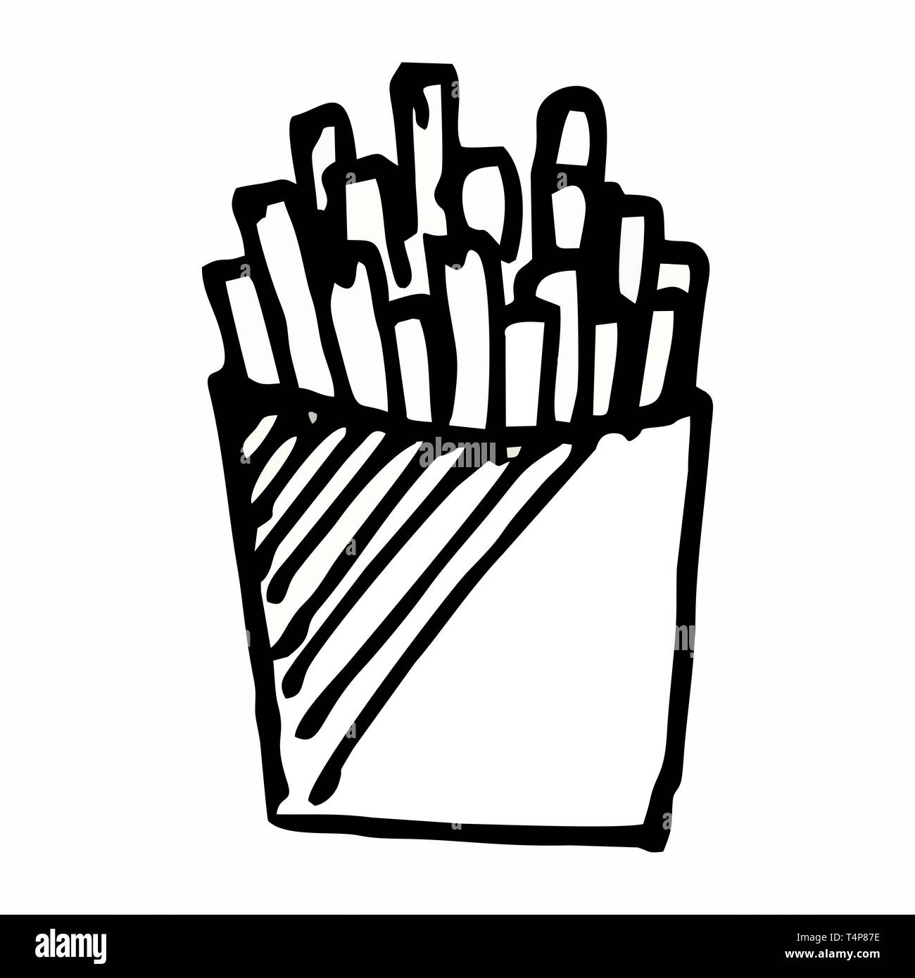 French Fries hand drawn illustration. Black outlines on white background. - Stock Vector