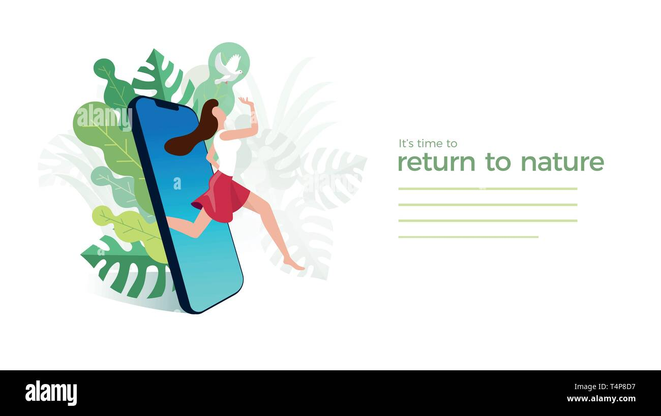 She's coming out of the cell phone. Escape from digital world's addictions and return to nature. Vector illustration. - Stock Vector