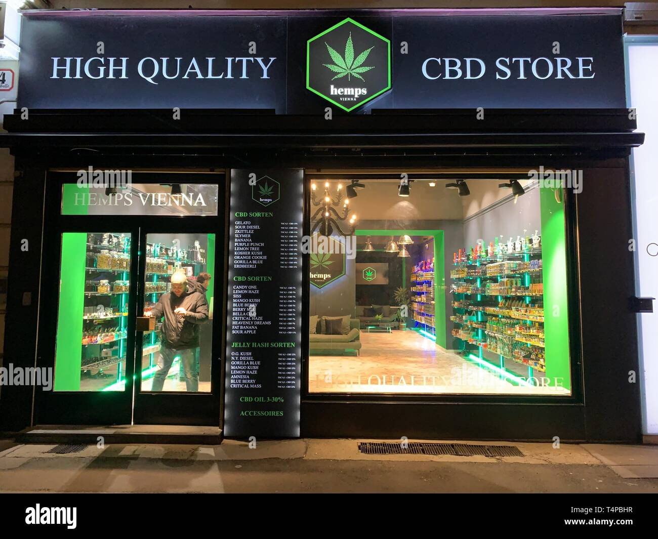 CBD Store in vienna  selling cannabis is legal Stock Photo