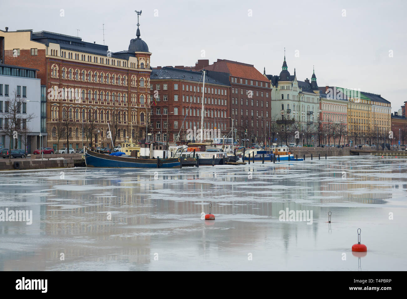 View of the Northern Embankment on a cloudy March day. Helsinki, Finland - Stock Image
