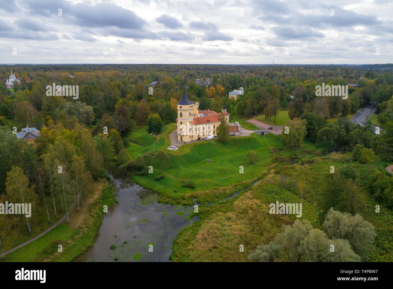 Bip Castle in the autumn landscape (aerial photography). Pavlovsk, neighborhood of St. Petersburg, Russia - Stock Image