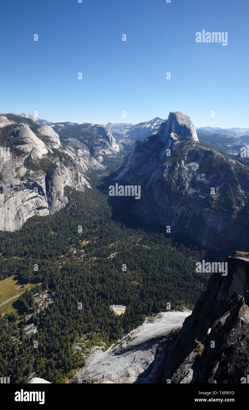 Half Dome and Yosemite Valley from Glacier Point, Yosemite, California, America. Stock Photo