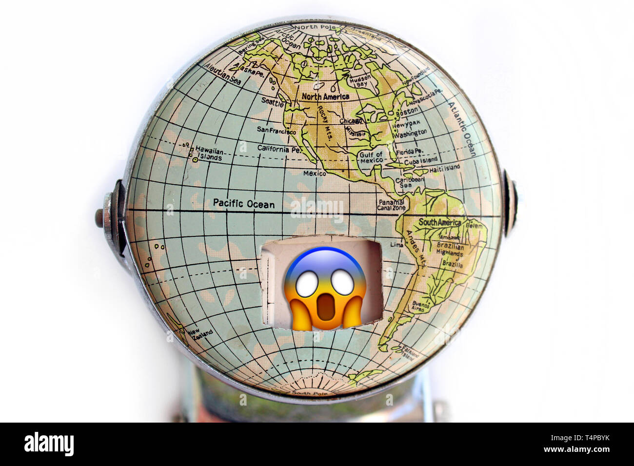 Illustration of planet and emoji screaming in fear, concept - Stock Image