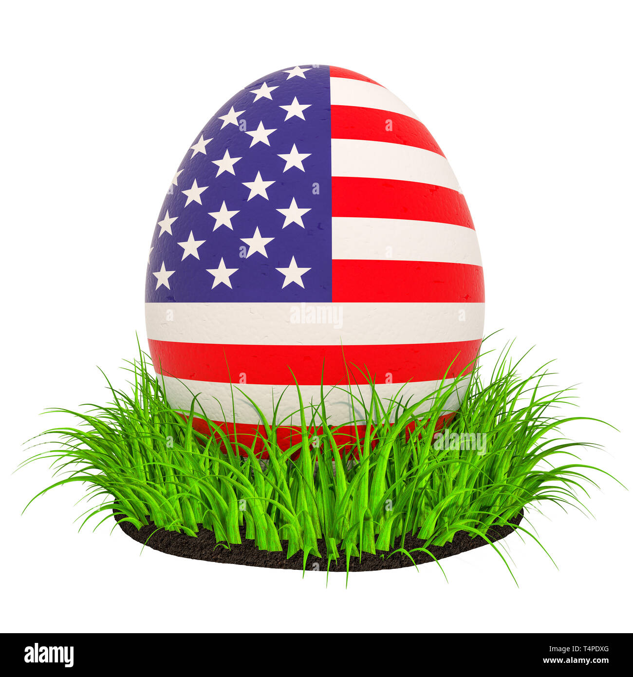 Easter egg with flag of the USA in the green grass, 9D rendering