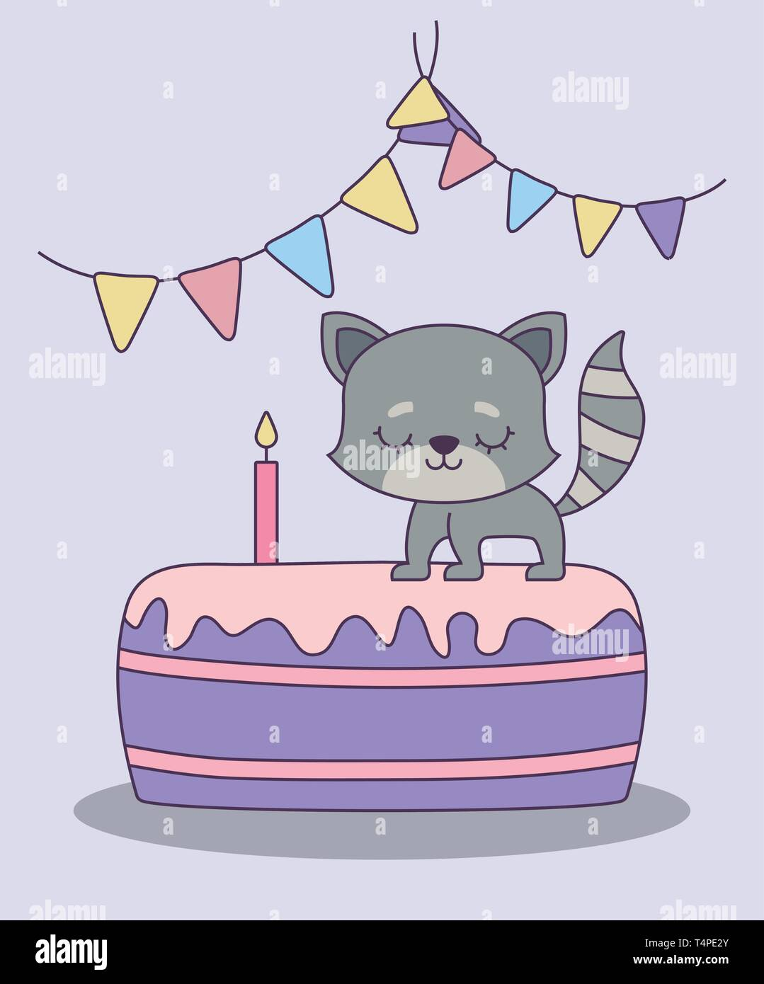 Cute Cat In Cake Of Birthday Vector Illustration Design