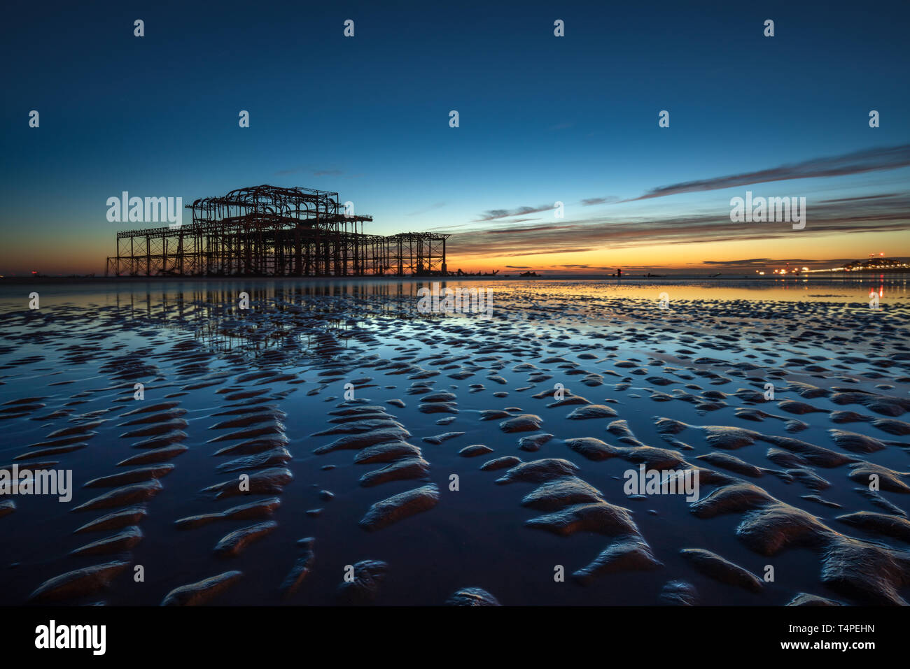 Brighton West Pier low tide Stock Photo