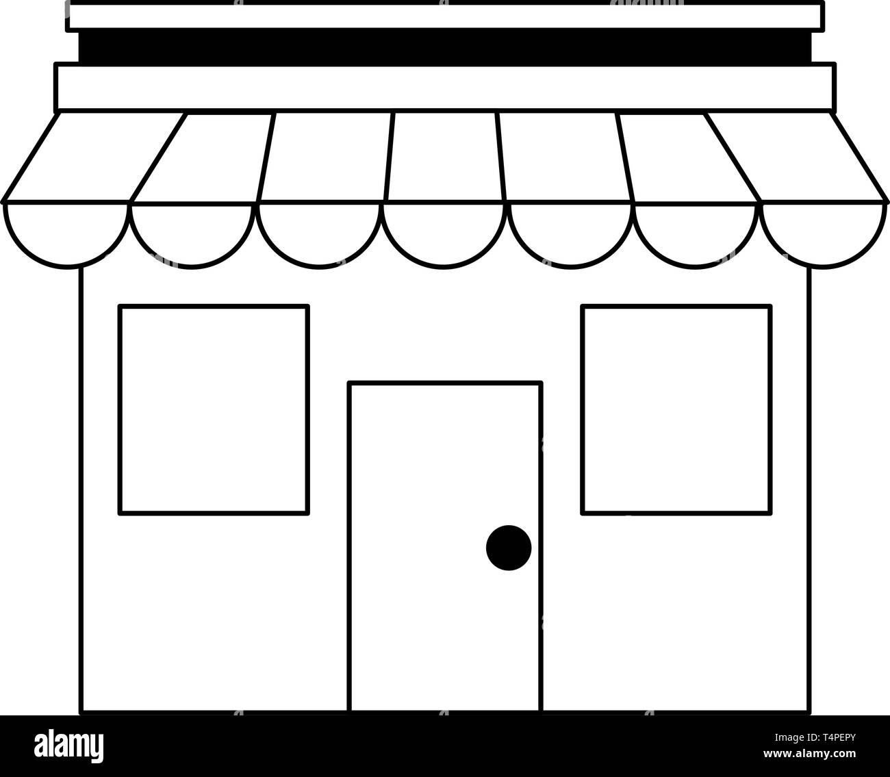Store bussiness ecommerce isolated in black and white - Stock Vector