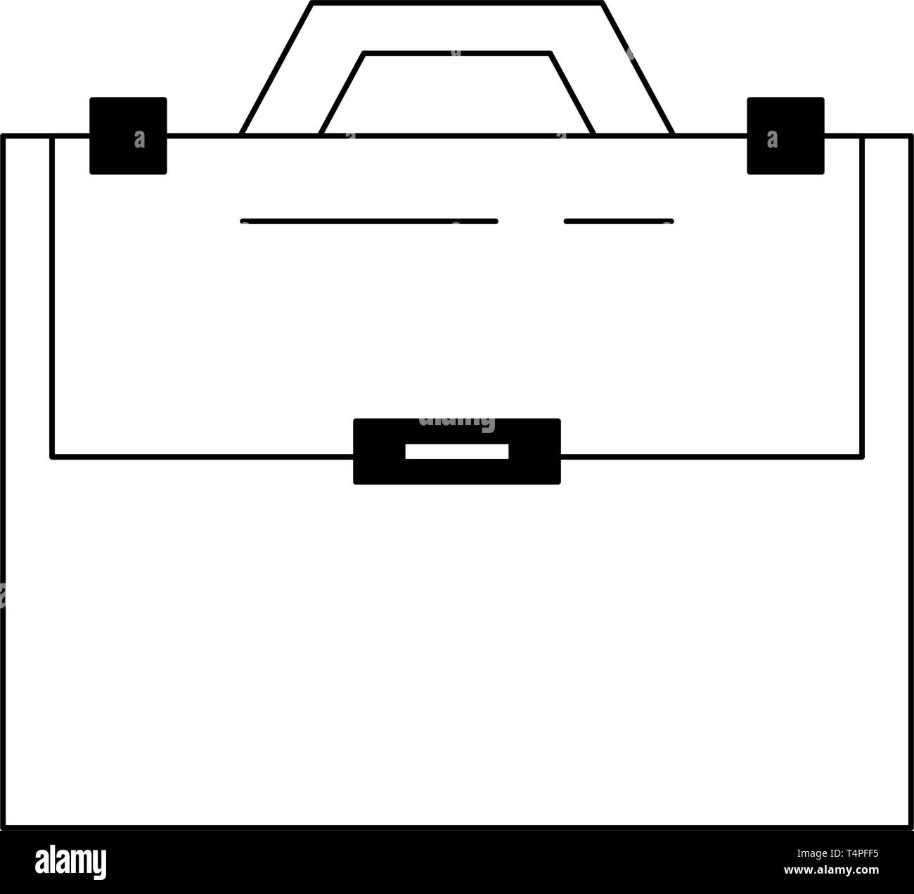 Briefcase sealed with handle isolated in black and white - Stock Vector
