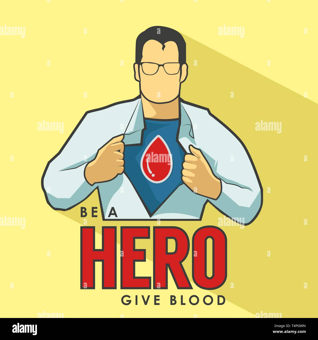 Super Hero Blood Donation Poster - Stock Image