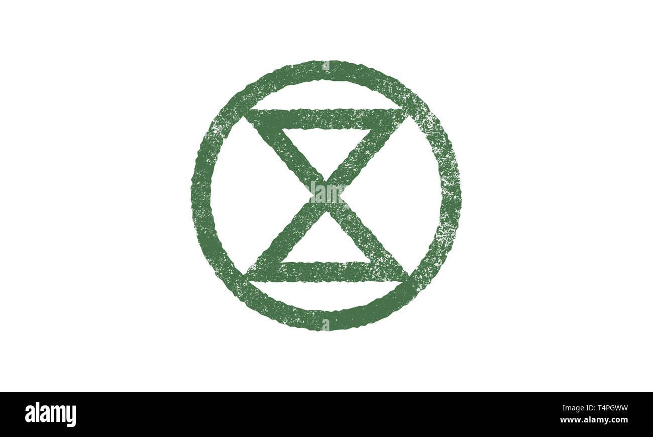 Extinction Symbol, concept illustration Extinction Rebellion moment Stock Photo