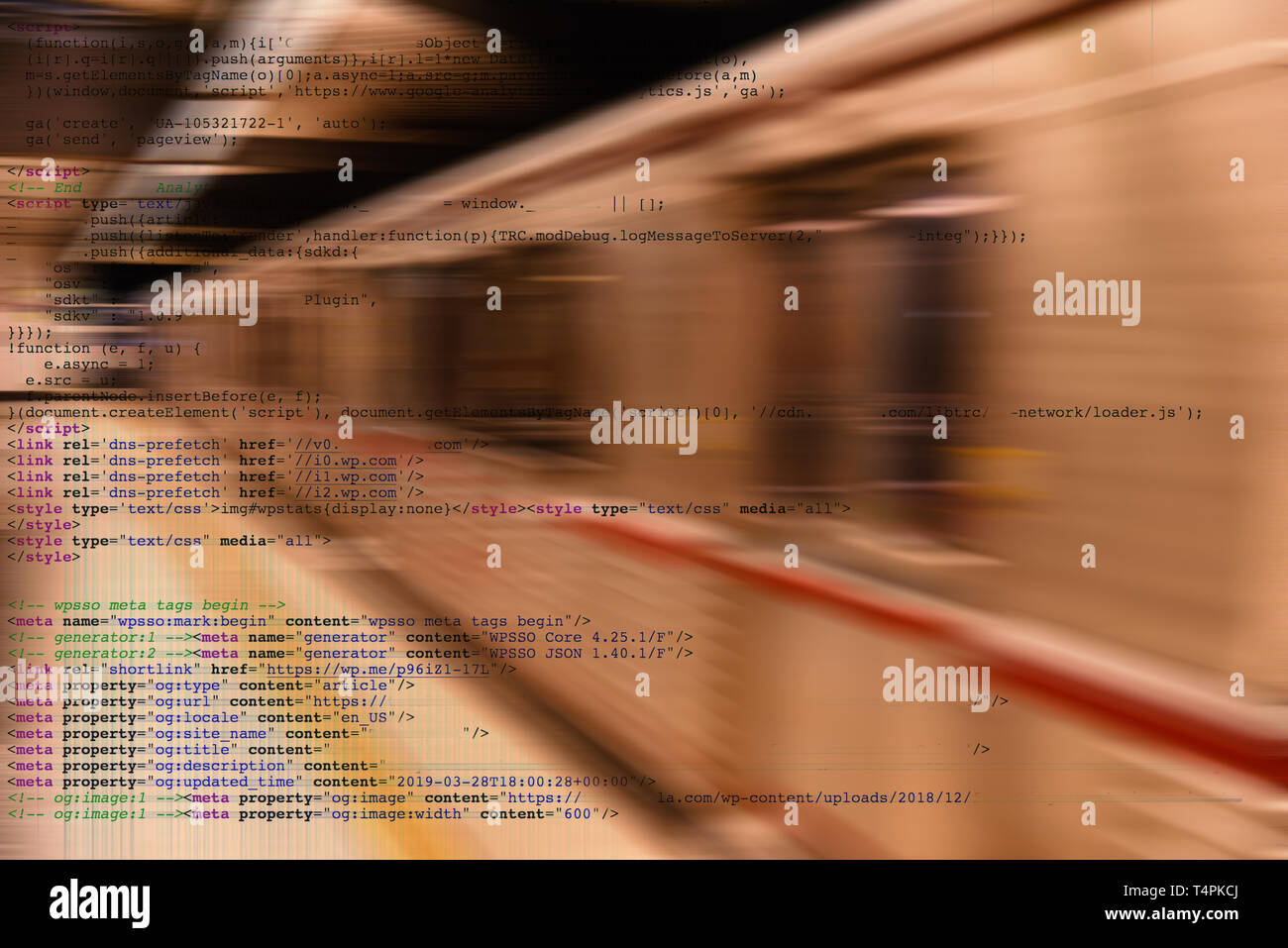 Conceptul image of artificial intelligence employeed in transportation.  In this case a computer controlled subway - Stock Image
