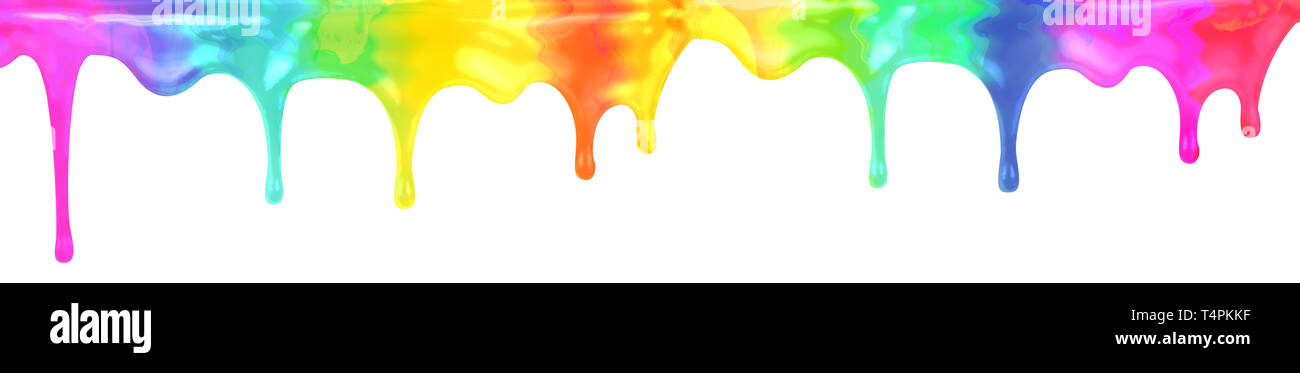 Drip rainbow spectrum colors paint isolated on white. Clipping path is included. - Stock Image