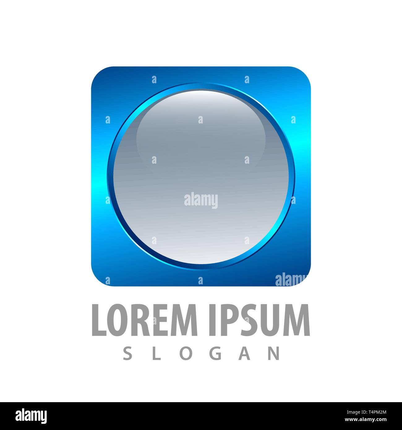 3d round blue square button concept design  Symbol graphic