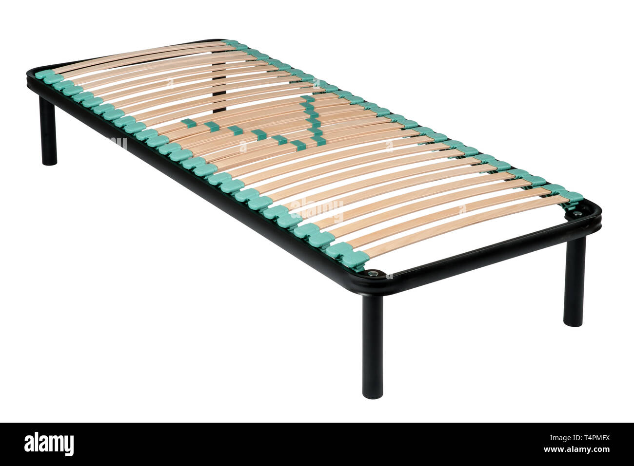 Single metal frame orthopaedic net bed with wooden slats and rubber shock absorbers isolated on white for maximum comfort and support - Stock Image