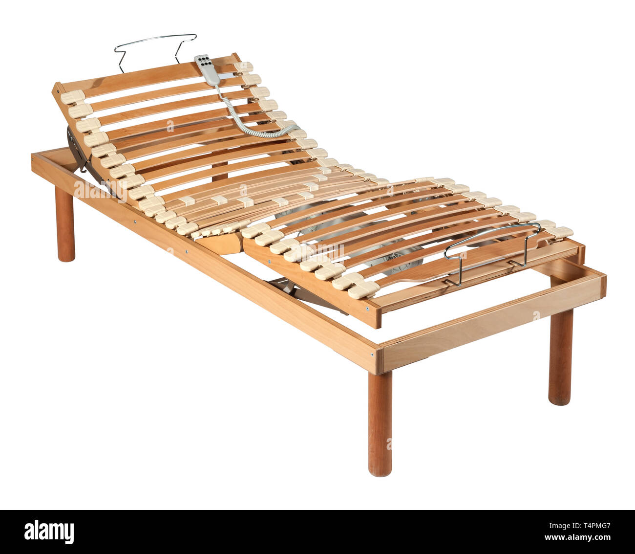 Single wooden orthopaedic bed with net and shock absorbers and electric adjustment mechanism isolated on white - Stock Image