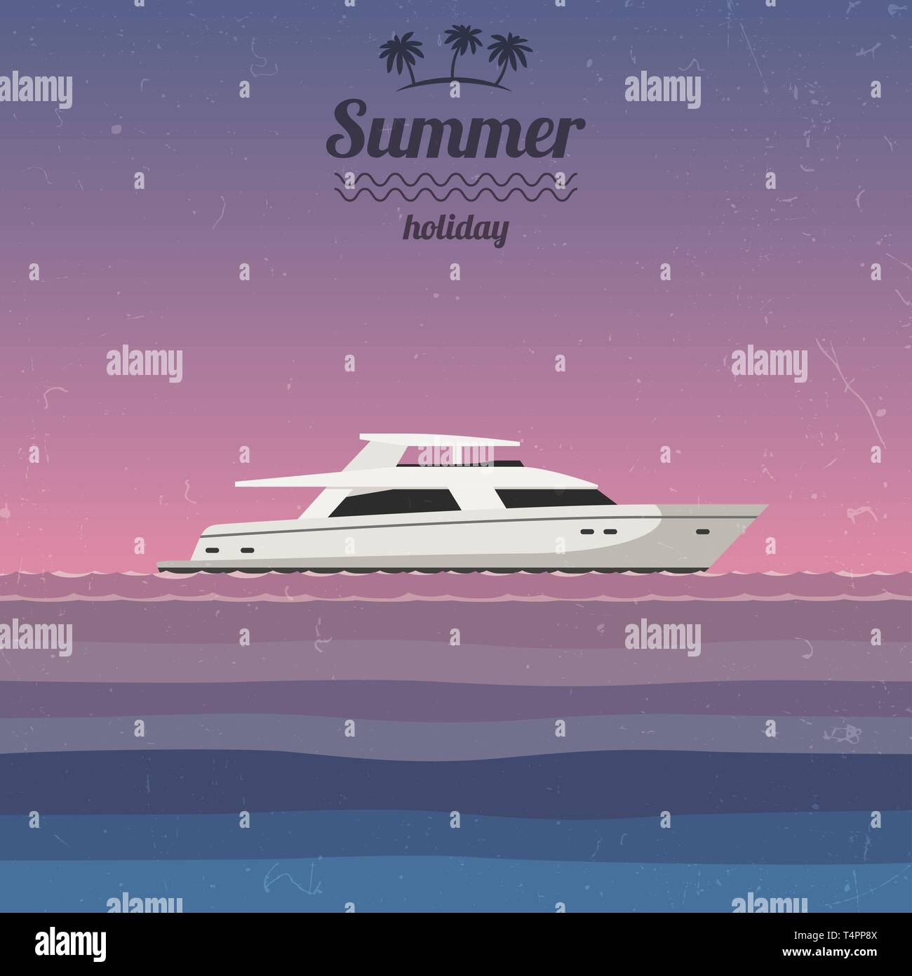 Sunset at sea with a yacht - Stock Vector