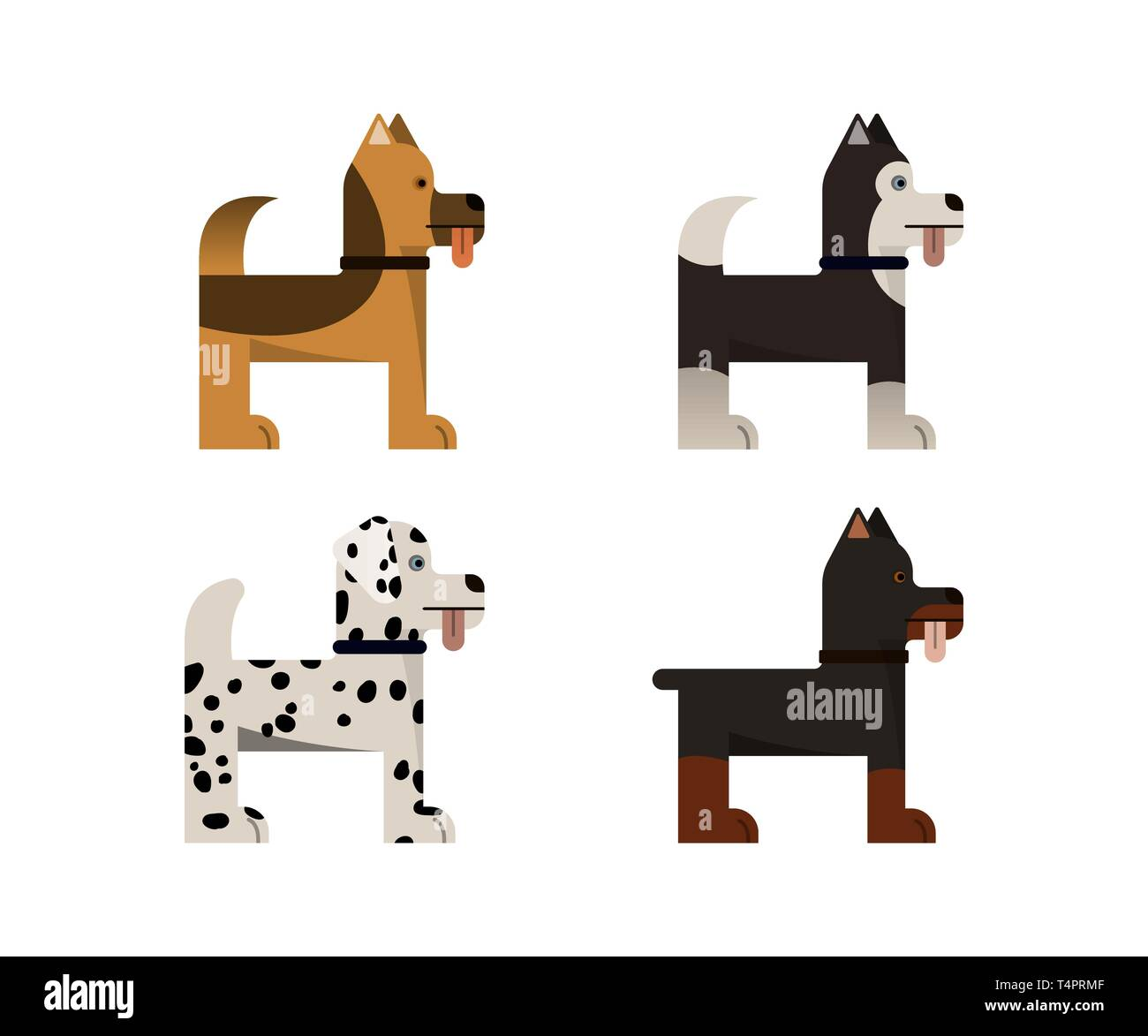 Dogs stand. Doberman, shepherd, husky and dalmatian gives a paw. Vector illustration. Flat icons set. - Stock Vector