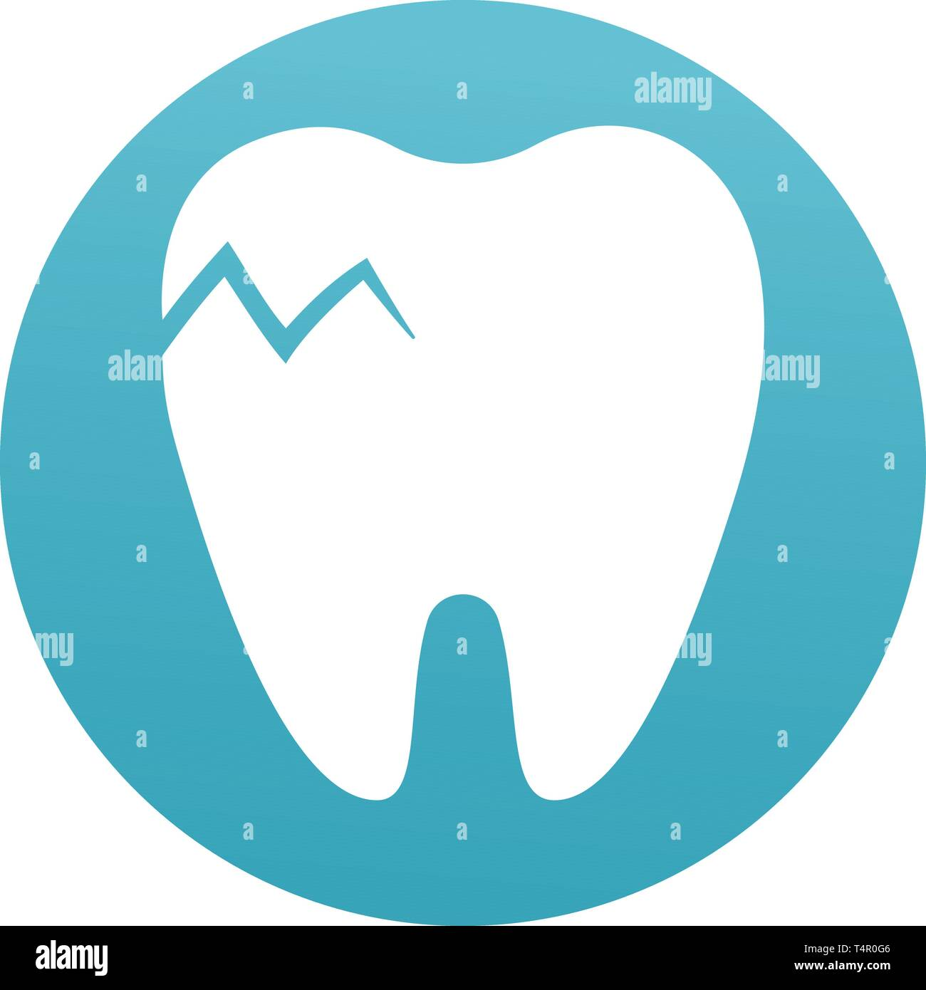 Cracked tooth flat icon, Dental and medicine  Dental Problem