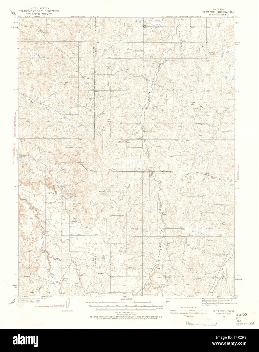 Usgs Topo Map Colorado Co Elizabeth 402879 1939 62500
