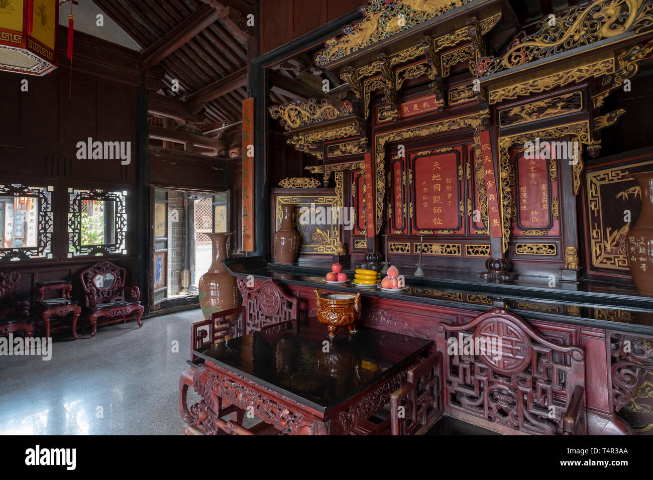 Interior of the Zhu Family house, Jianshui Ancient Town, Yunnan Province, China - Stock Image