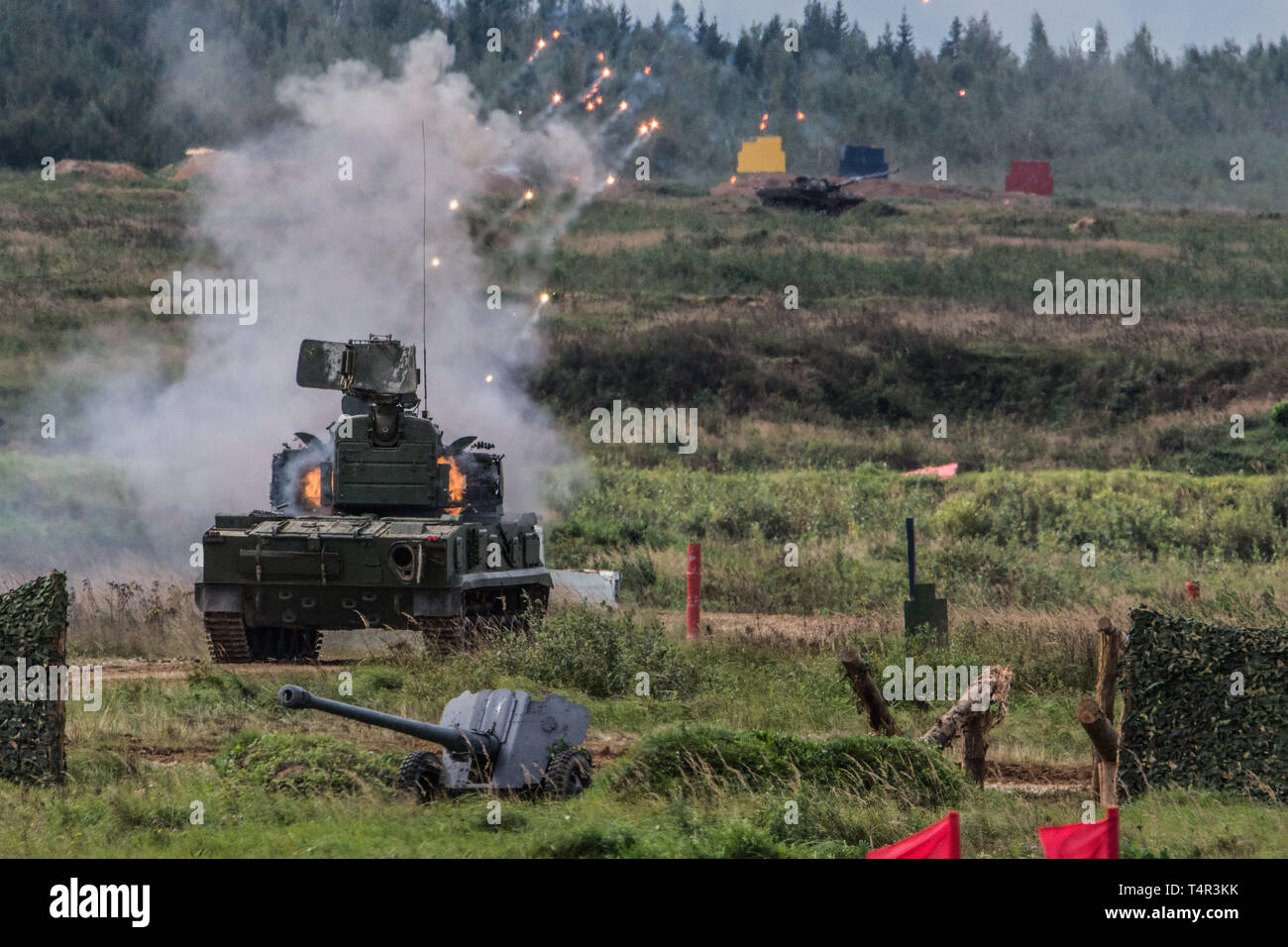 September 9, 2016. Alabino, Russia. SPAA 2K22 Tunguska firing with auto-canon at targets at the Alabino range. - Stock Image
