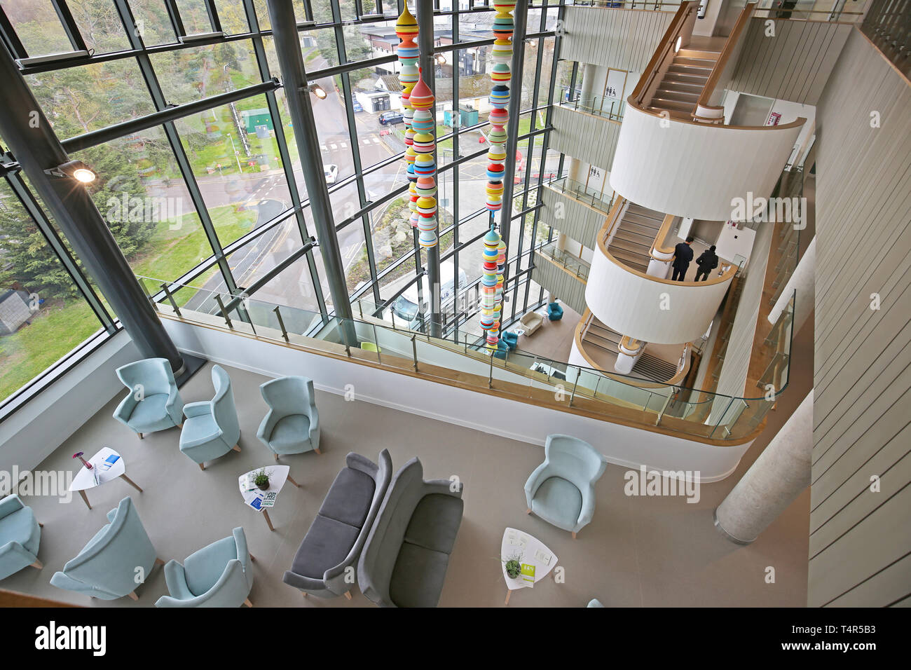 Interior of the atrium in the new Stanmore Building at the Royal National Orthopaedic Hospital in Stanmore, north London, UK - Stock Image