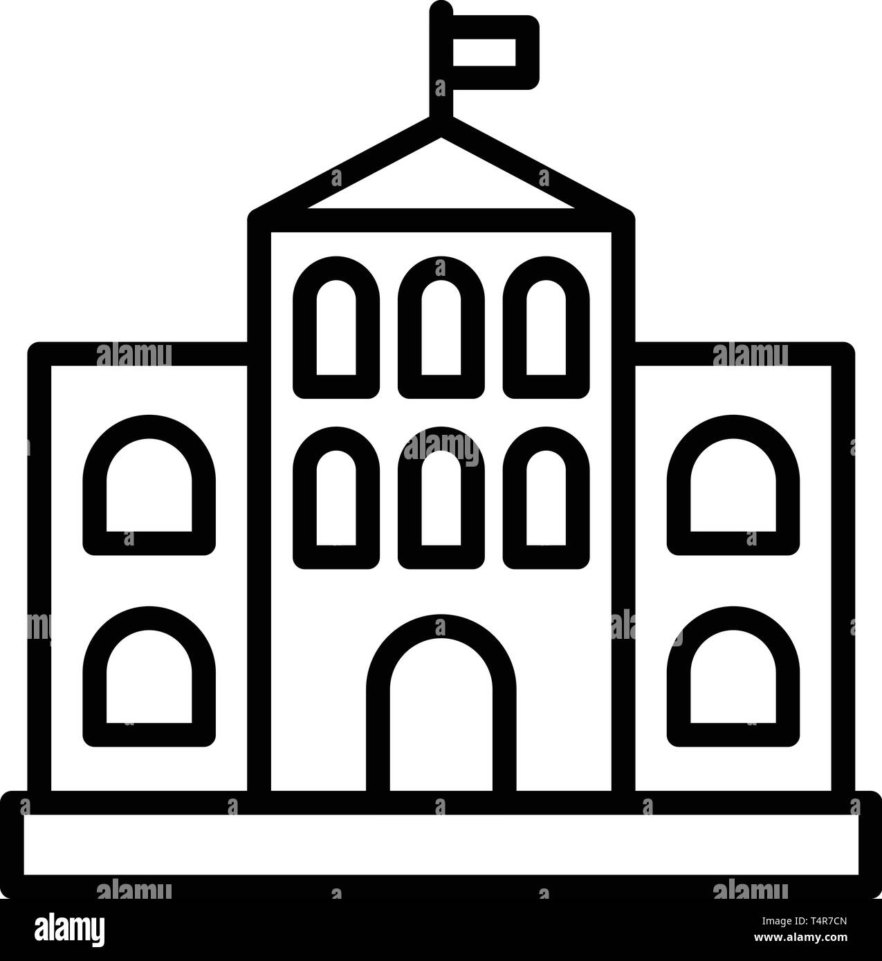 Architectural courthouse icon, outline style - Stock Vector