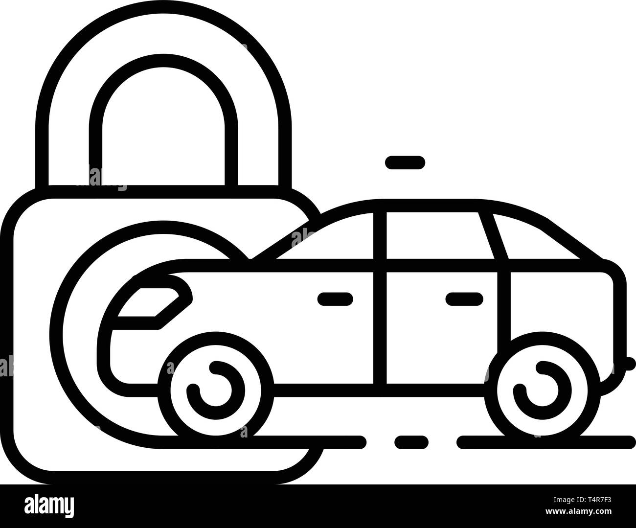 Locked car icon, outline style - Stock Image