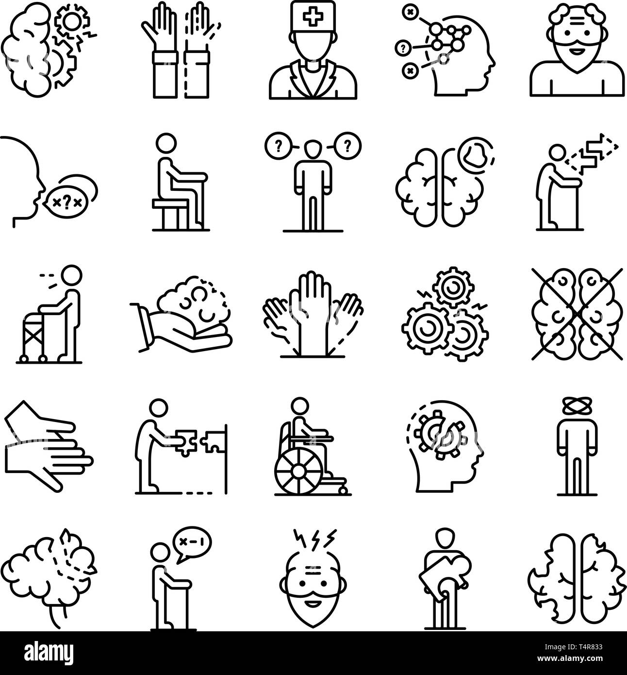 Alzheimers disease icons set, outline style - Stock Image