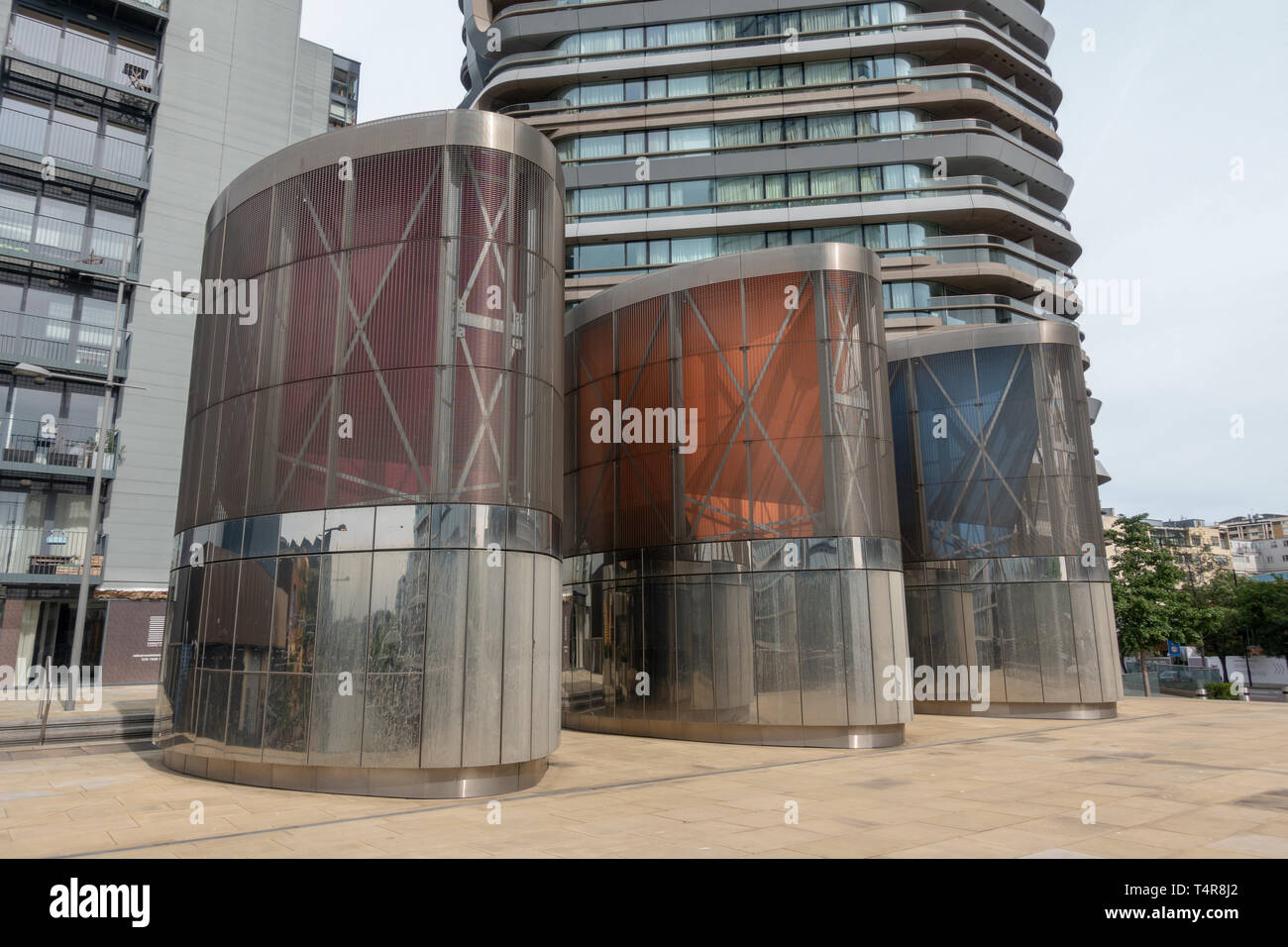 Ventilation towers beside Canaletto Tower, part of the Bunhill Heat and Power heating network scheme by Islington Council, London, UK. (see notes) Stock Photo