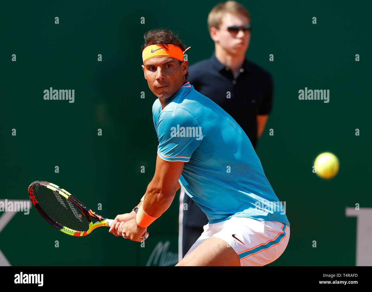 Roquebrune Cap Martin, France. 17th Apr, 2019. Rafael Nadal of Spain hits a return during the singles second match against Roberto Bautista Agut of Spain at the Monte-Carlo Rolex Masters tennis tournament in Roquebrune Cap Martin, France, April 17, 2019. Credit: Nicolas Marie/Xinhua/Alamy Live News Stock Photo