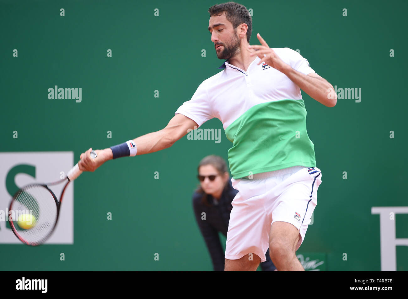 Roquebrune Cap Martin, France. 16th Apr, 2019. Martin Cilic (CRO) Tennis : Men's Singles 2nd Round match during Monte Carlo Masters at Monte Carlo Country Club in Roquebrune Cap Martin, France . Credit: Itaru Chiba/AFLO/Alamy Live News Stock Photo