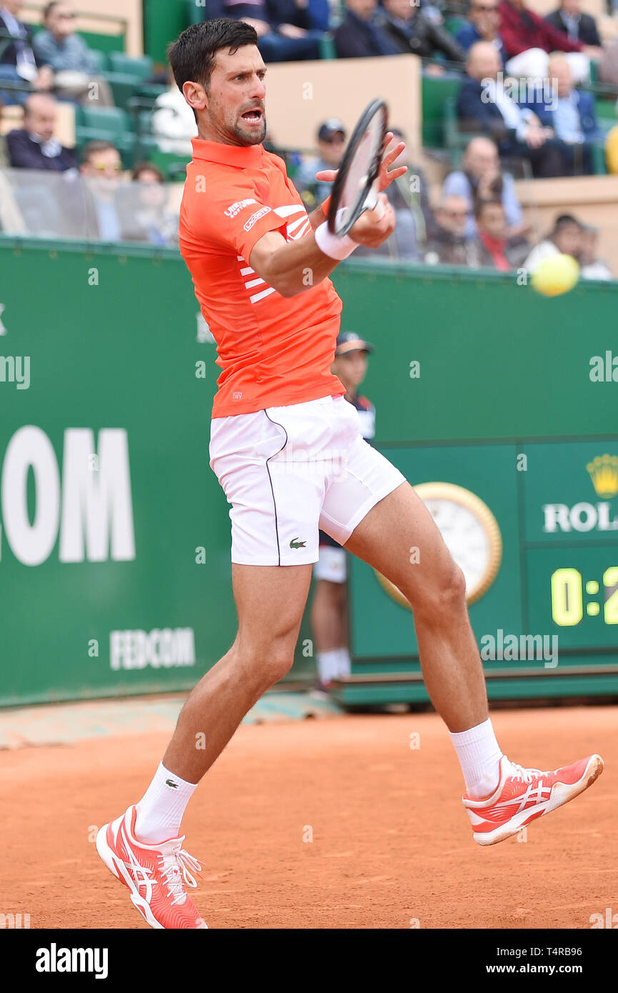 Roquebrune Cap Martin, France. 16th Apr, 2019. Novak Djokovic (SRB) Tennis : Men's Singles 2nd Round match during Monte Carlo Masters at Monte Carlo Country Club in Roquebrune Cap Martin, France . Credit: Itaru Chiba/AFLO/Alamy Live News Stock Photo