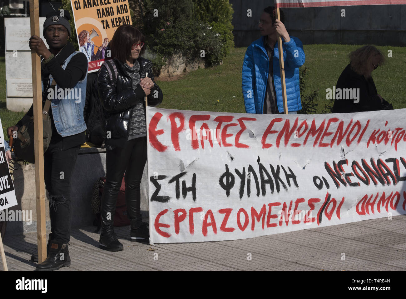 Athens, Greece. 18th Apr, 2019. Marking four years since the trial of the Greek neo-nazi party begun, leftist and anti-racism organizations protest outside the court were the trial is taking place and demand conviction of the neo-nazi party. The trial of Golden Dawn with almost 70 defendants, accusations such as criminal organization, murder, possession of weapons and racist violence, begun in April 2015 and is still ongoing. Credit: Nikolas Georgiou/ZUMA Wire/Alamy Live News Stock Photo
