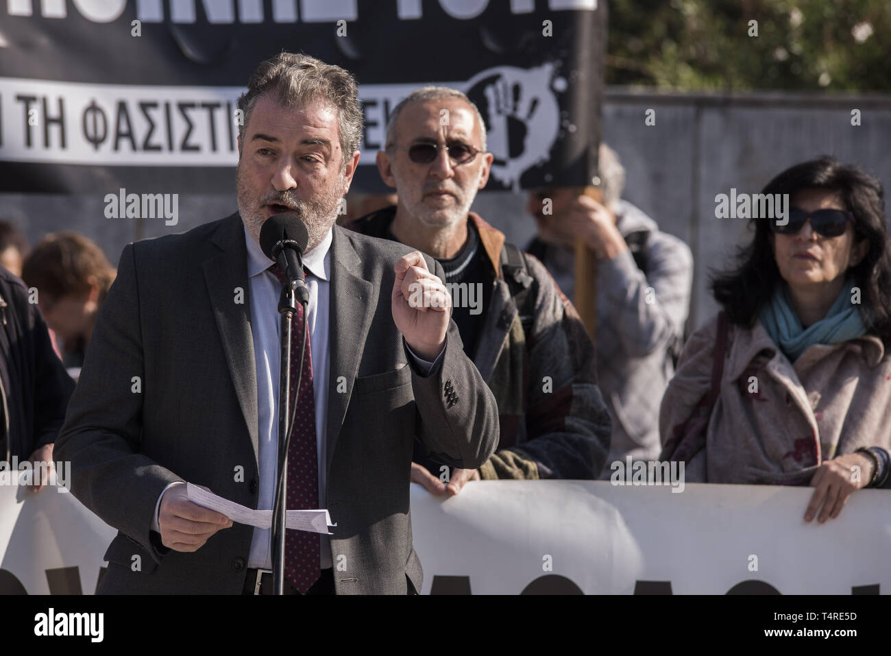 Athens, Greece. 18th Apr, 2019. KOSTAS PAPADAKIS, one of the case lawyers addresses protesters as they gathered outside the court to demand Golden Dawn's conviction, marking four years since the trial of the Greek neo-nazi party begun. The trial of Golden Dawn with almost 70 defendants, accusations such as criminal organization, murder, possession of weapons and racist violence, begun in April 2015 and is still ongoing. Credit: Nikolas Georgiou/ZUMA Wire/Alamy Live News Stock Photo