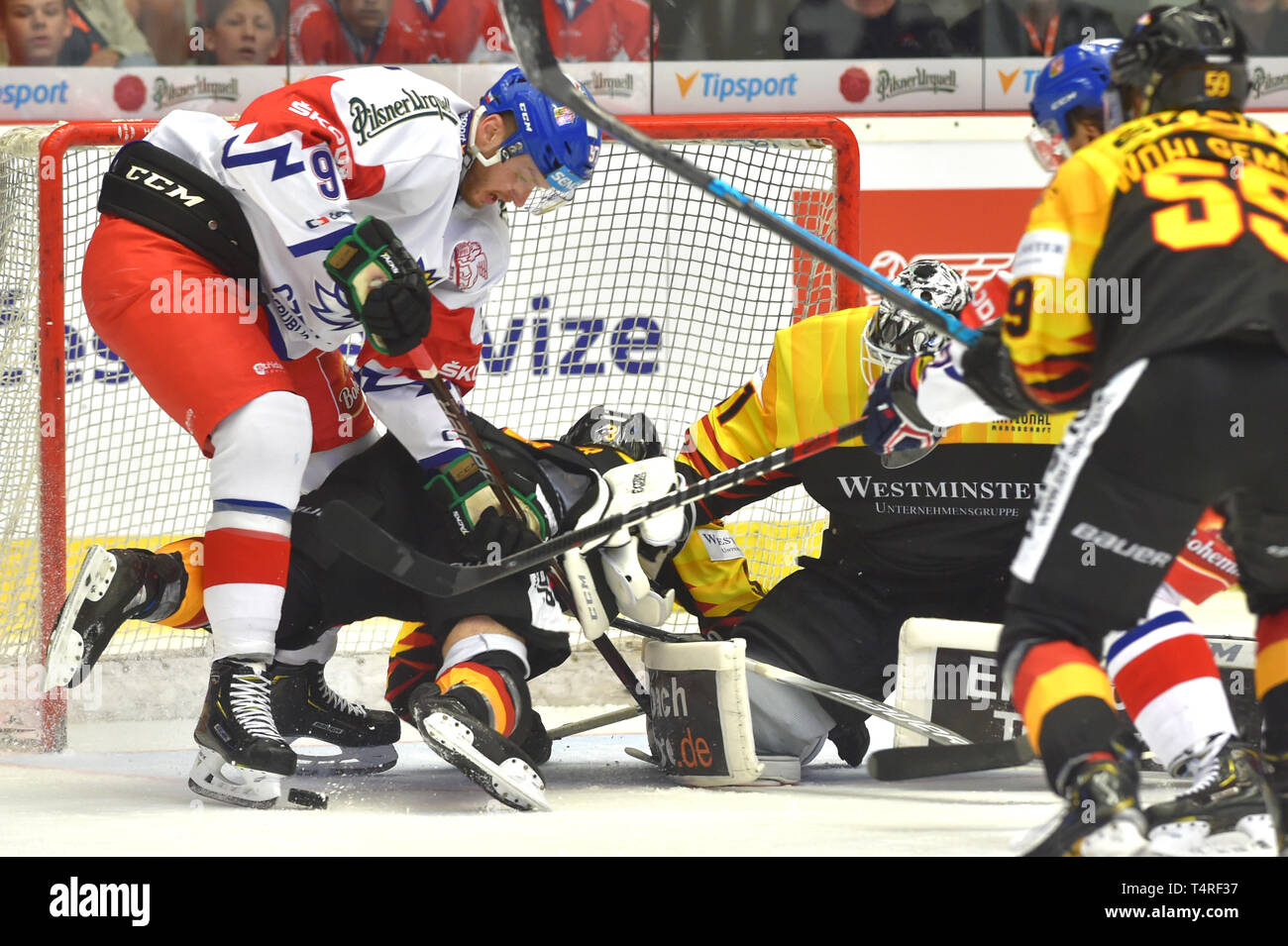 Karlovy Vary, Czech Republic. 18th Apr, 2019. (L-R) Radim Zohorna of Czech Republic, Dominik Bittner, Niklas Treutle and Tim Wohlgemuth of Germany in action during the Euro Hockey Challenge match Czech Republic vs Germany in Karlovy Vary, Czech Republic, April 18, 2019. Credit: Slavomir Kubes/CTK Photo/Alamy Live News Stock Photo