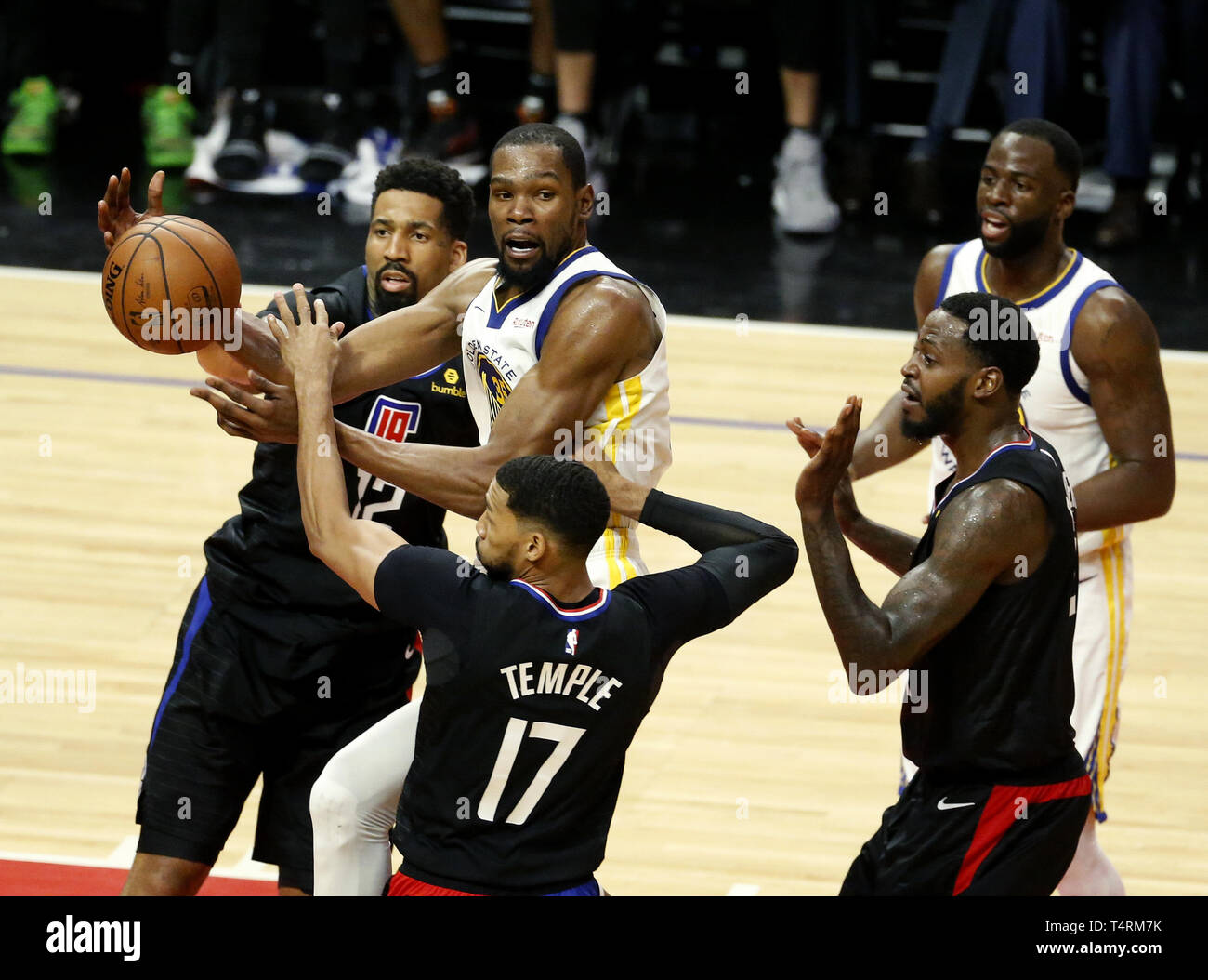 862613a1f82 Golden State Warriors  Kevin Durant (35) looks to pass the ball during an NBA  basketball playoffs round one game between Los Angeles Clippers and Golden  ...