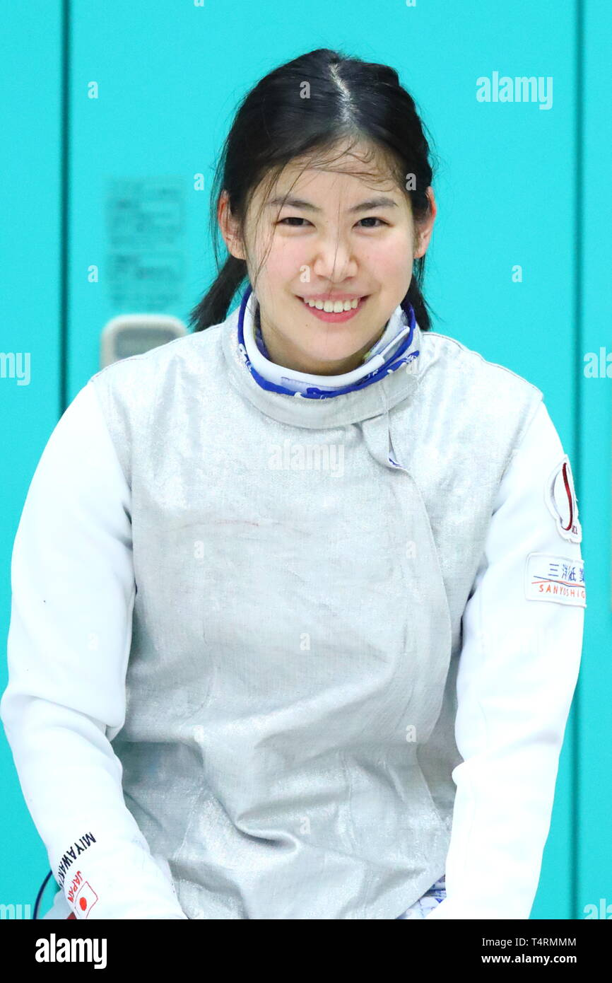 the JISS, Tokyo, Japan. 19th Apr, 2019. Karin Miyawaki (JPN), APRIL 19, 2019 - Fencing : Japan National Team Training Session at the JISS, Tokyo, Japan. Credit: Naoki Nishimura/AFLO SPORT/Alamy Live News Stock Photo