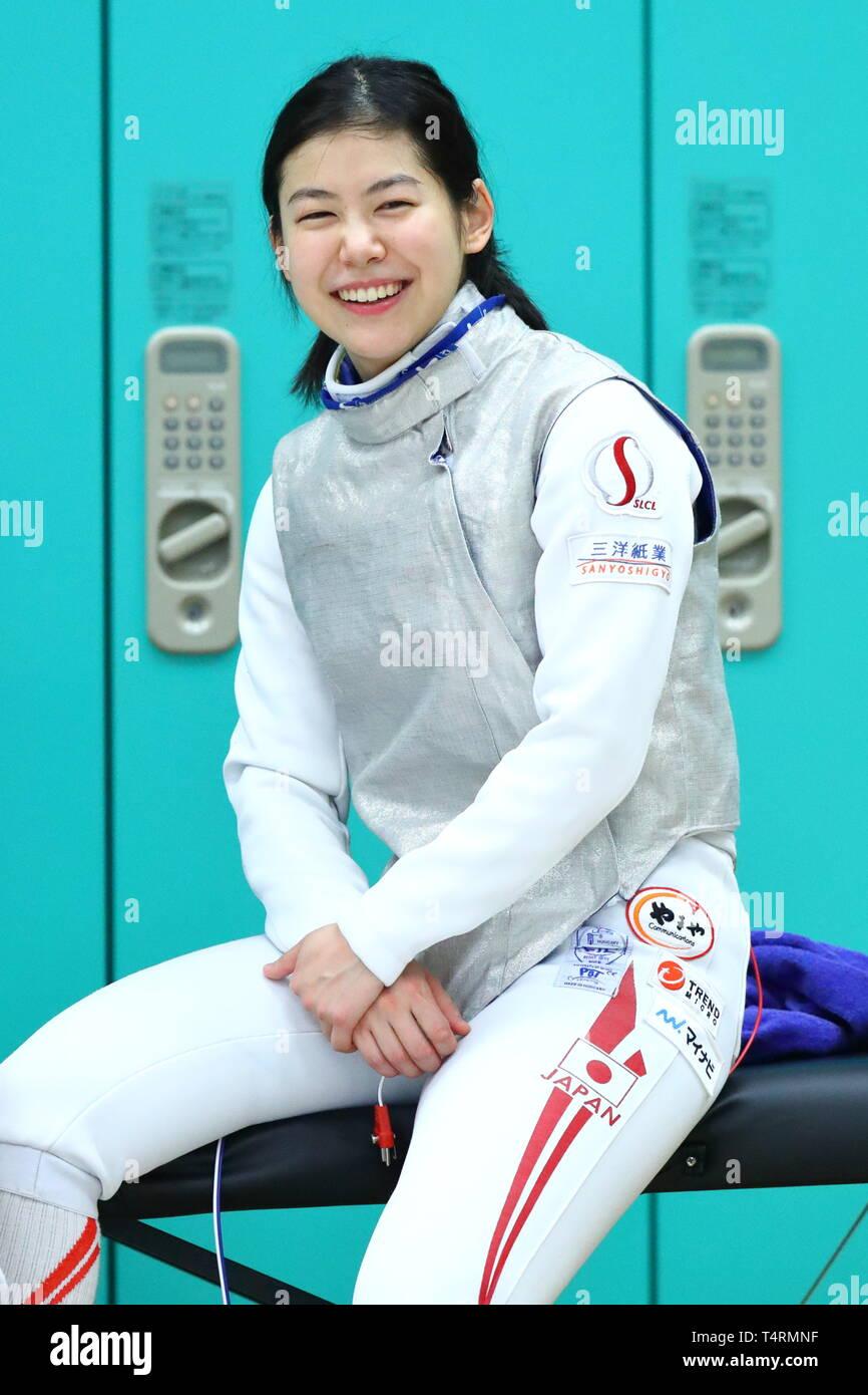 the JISS, Tokyo, Japan. 19th Apr, 2019. Karin Miyawaki (JPN), APRIL 19, 2019 - Fencing : Japan National Team Training Session at the JISS, Tokyo, Japan. Credit: Naoki Nishimura/AFLO SPORT/Alamy Live News Stock Photo