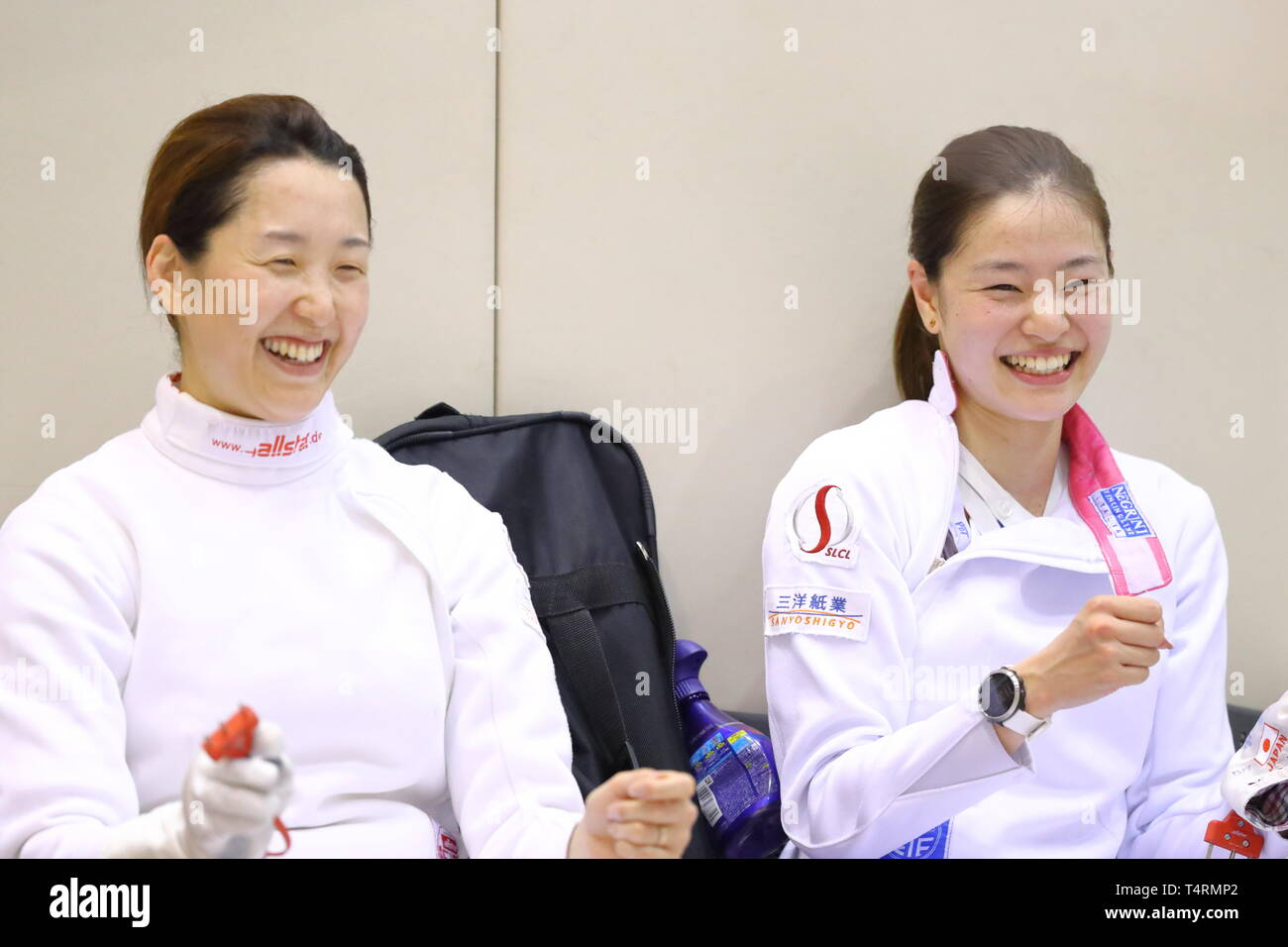 Ajinomoto National Training Center, Tokyo, Japan. 19th Apr, 2019. (L-R) Nozomi Sato, Ayumu Saito (JPN), APRIL 19, 2019 - Fencing : Japan National Team Training Session at Ajinomoto National Training Center, Tokyo, Japan. Credit: Naoki Nishimura/AFLO SPORT/Alamy Live News Stock Photo