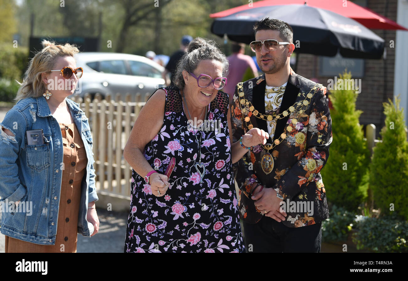 Crawley Sussex, UK. 19th Apr, 2019. Spectators enjoy the sunshine at the World Marbles Championship held at The Greyhound pub at Tinsley Green near Crawley in Sussex . The annual event has been held on Good Friday every year since the 1930s and is open to players from around the world Credit: Simon Dack/Alamy Live News Stock Photo