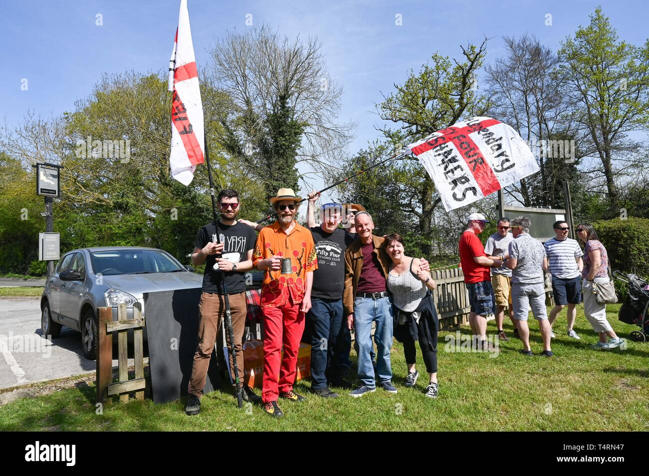 Crawley Sussex, UK. 19th Apr, 2019. The Fifty Four Shack Shakers in the World Marbles Championship held at The Greyhound pub at Tinsley Green near Crawley in Sussex . The annual event has been held on Good Friday every year since the 1930s and is open to players from around the world Credit: Simon Dack/Alamy Live News Stock Photo
