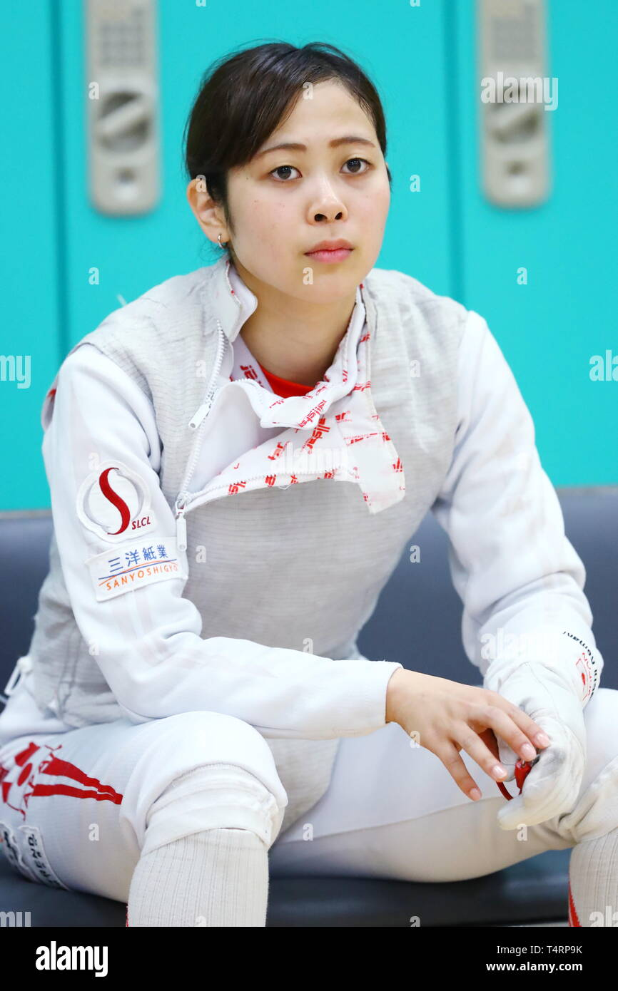the JISS, Tokyo, Japan. 19th Apr, 2019. Komaki Kikuchi (JPN), APRIL 19, 2019 - Fencing : Japan National Team Training Session at the JISS, Tokyo, Japan. Credit: Naoki Nishimura/AFLO SPORT/Alamy Live News Stock Photo