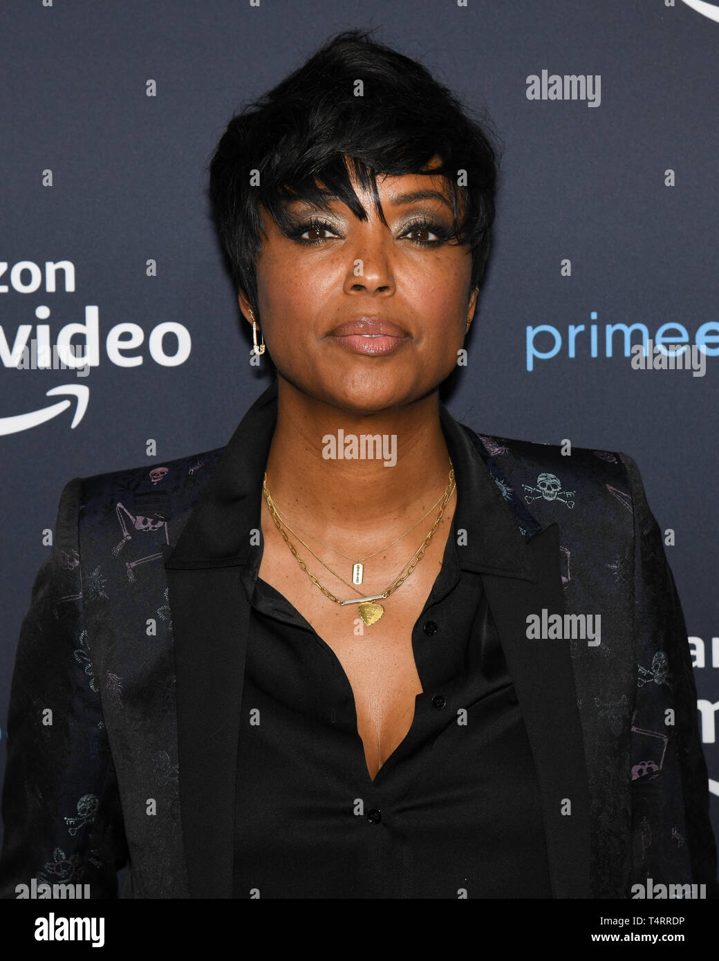 April 17, 2019 - Hollywood, California, USA - Actress AISHA TYLER attends  at the For Your Consideration Screening of Amazon Studios' 'Good Omens' at The Hollywood Athletic Club in Los Angeles, California. (Credit Image: © Billy Bennight/ZUMA Wire) - Stock Image