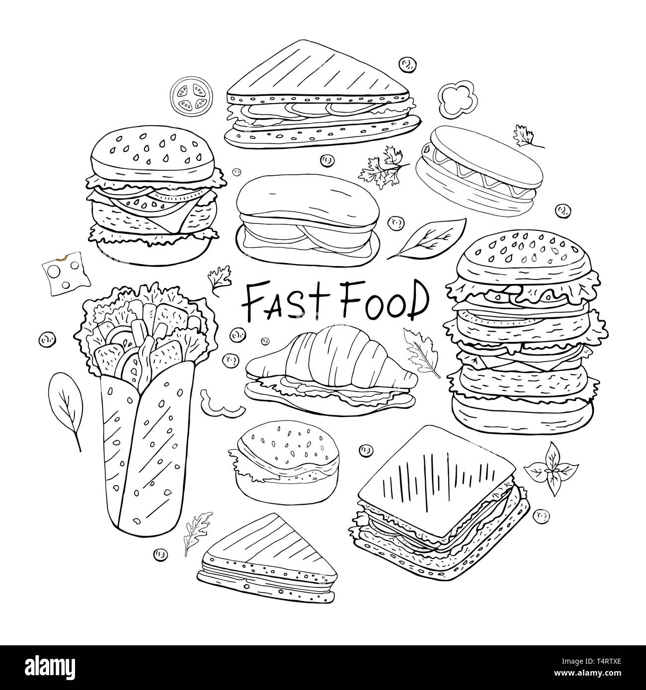 Set of different fast food elements in circle shape on white background. Street food collection black and white. - Stock Image
