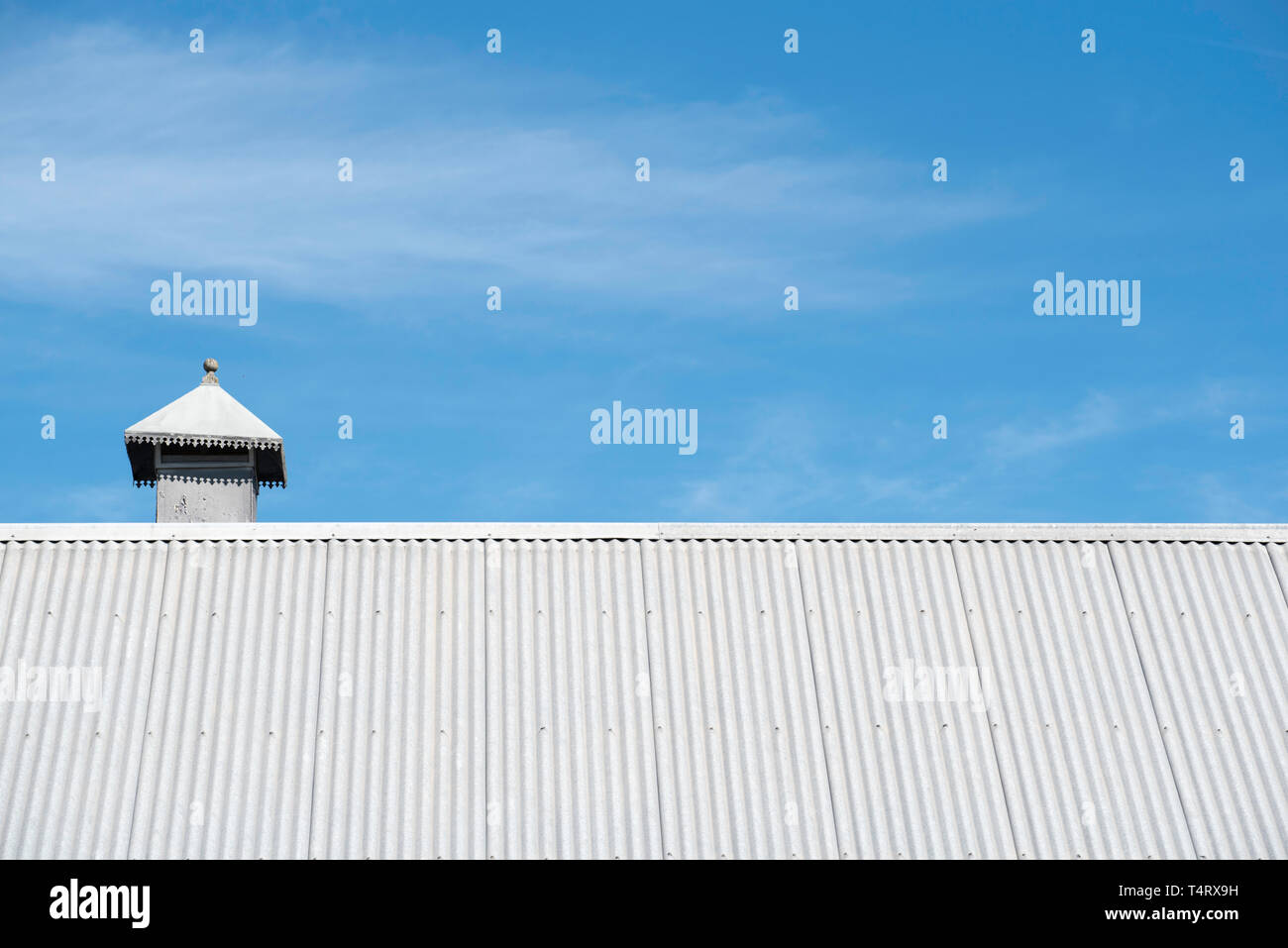 Galvanized corrugated iron roofing at the Parramatta Campus of the University of Western Sydney, NSW, Australia - Stock Image