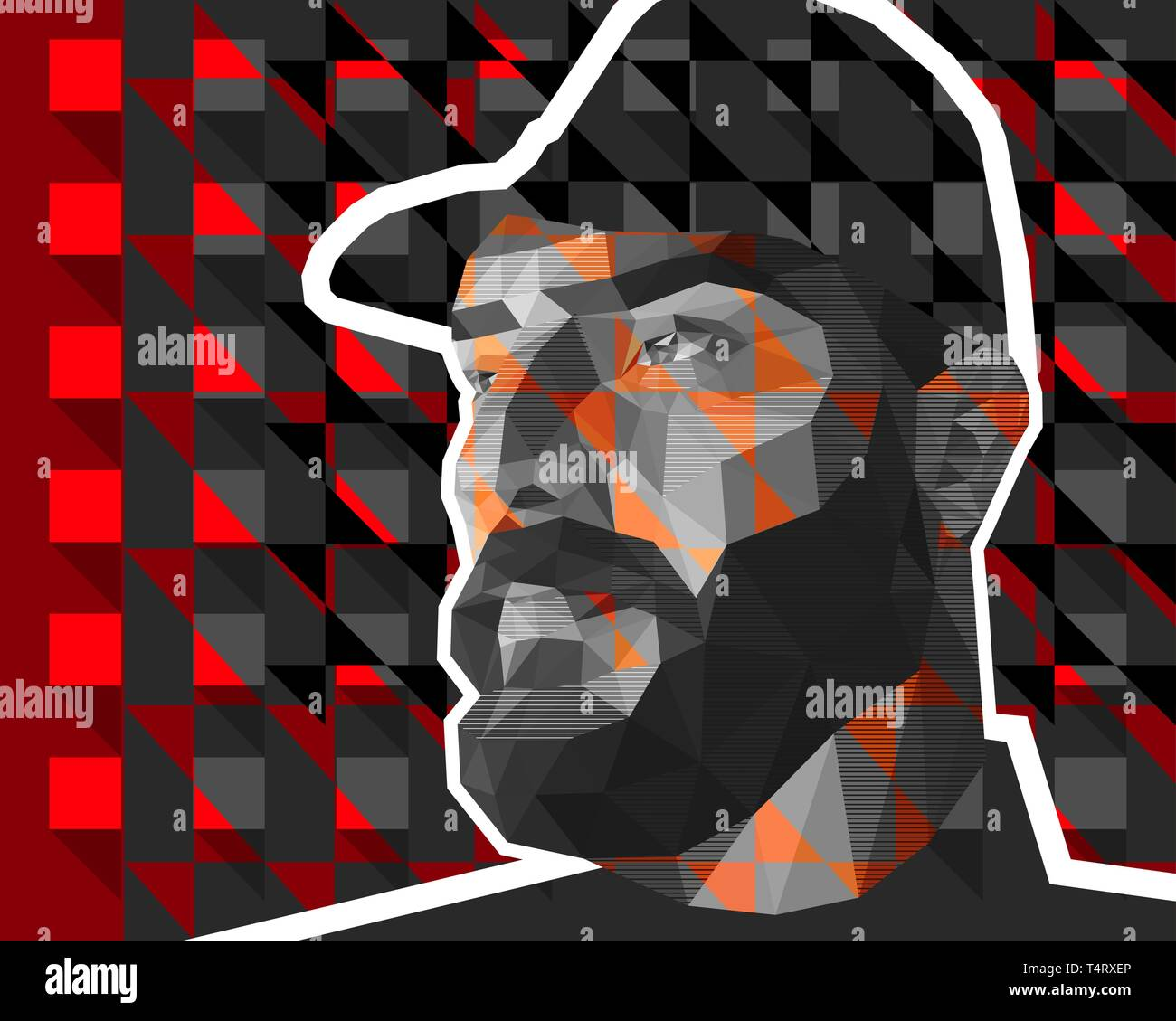 Vector illustration in low polygon style. A man with large expressive features, a thick beard, a crook-nose and slanting eyes is dressed in military u - Stock Image