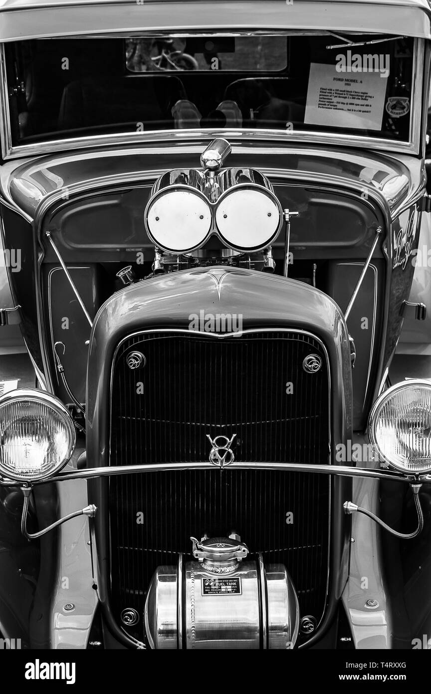 A 1930 Model A  Hot Rod on display at a car show - Stock Image