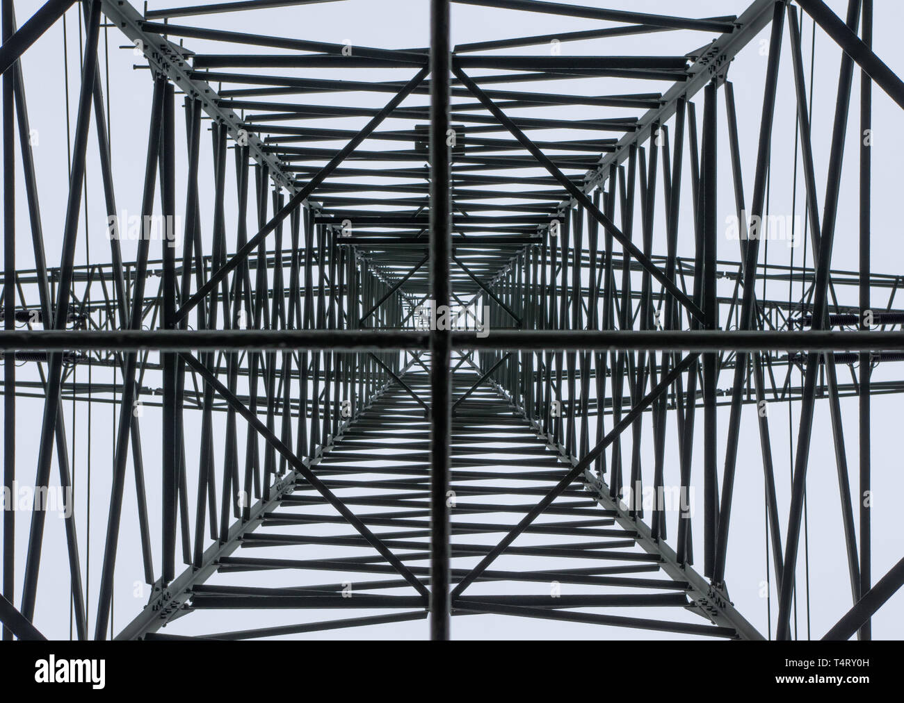 electricity pylon from below - Stock Image